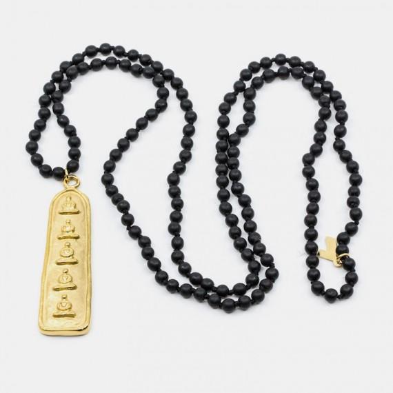 5 Buddha Halsband Svart Agat Y-YOGA