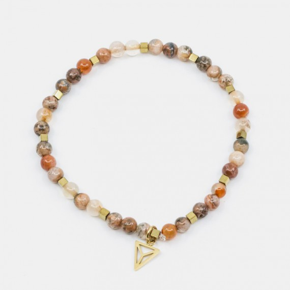 Leopard Jasper Armband Orange Y-YOGA