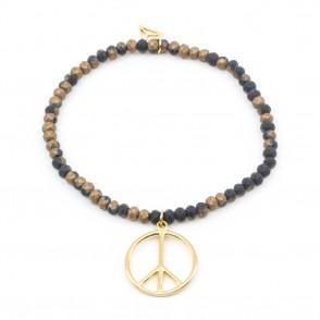 Peace Armband Brun